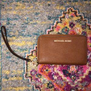 Michael Kors Leather Wallet Wristlet Brown